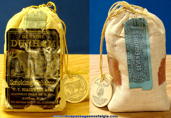Full Old Bag of Bull Durham Tobacco with Label & Tag