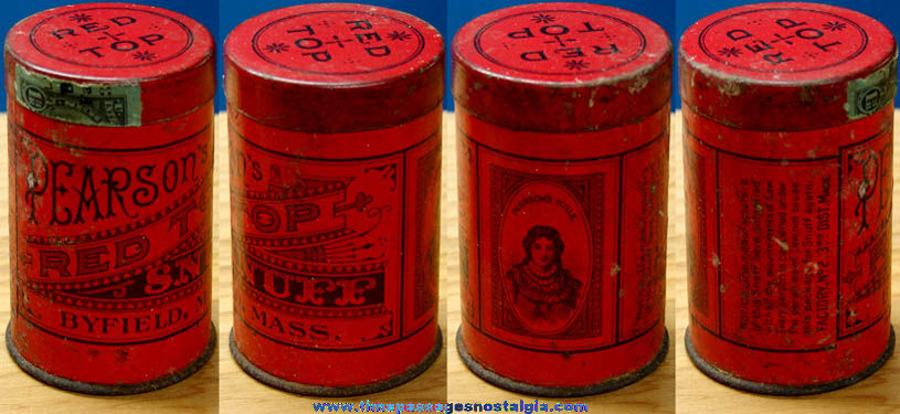 Small Old Pearson's Red Top Snuff Advertising Container Can
