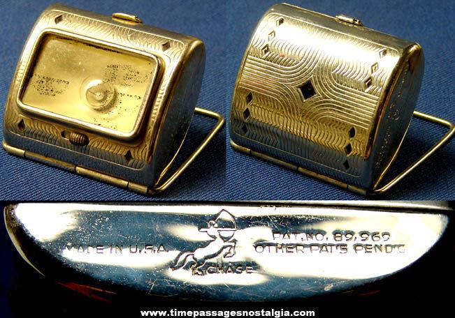 Unusual Small Old Metal Easel Back Flashlight
