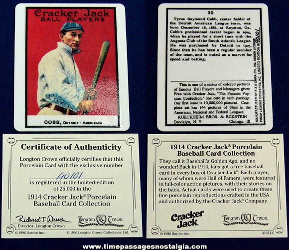 ©1996 Numbered Limited Edition Ty Cobb Porcelain Cracker Jack Baseball Card