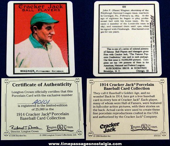 ©1996 Numbered Limited Edition Honus Wagner Porcelain Cracker Jack Baseball Card