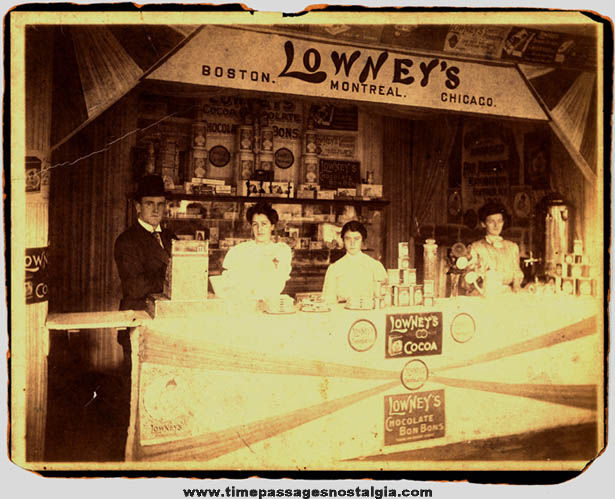 Large Old Lowneys Candy Advertising Display Booth Photograph