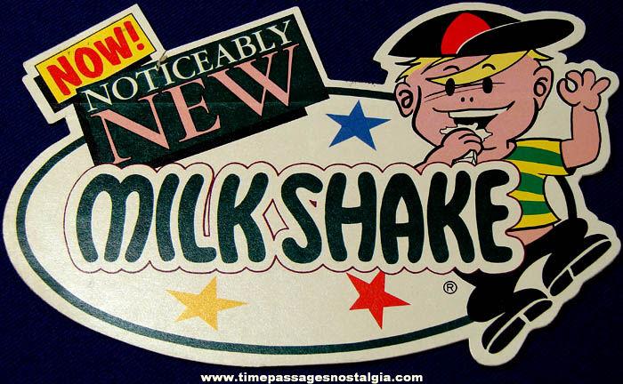 Old Unused Diecut Milkshake Candy Bar Advertising Sticker Decal