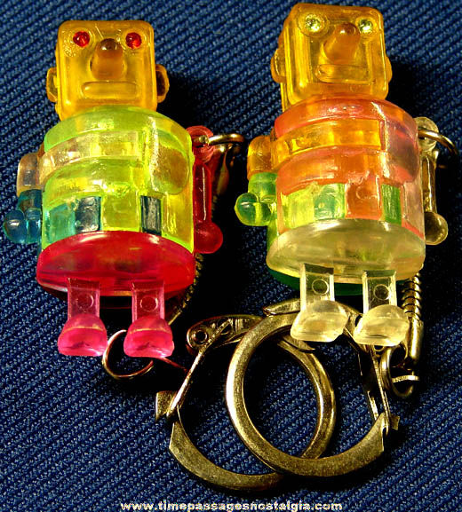 (2) Colorful Old Toy Robot Puzzle Key Chains