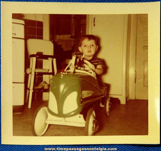 1950 Boy Riding Pedal Car Color Photograph