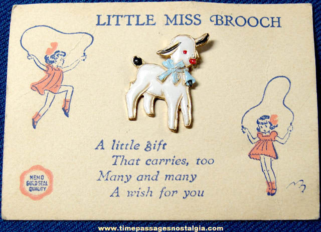 Old Carded Childrens Enameled Lamb Broach Pin