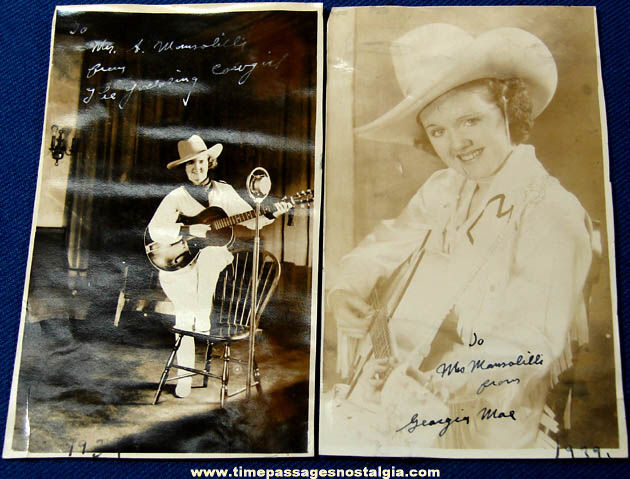 (2) 1939 Signed Georgia Mae Yodeling Cowgirl Photographs