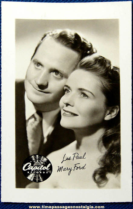 Old Les Paul & Mary Ford Capitol Records Publicity Photograph