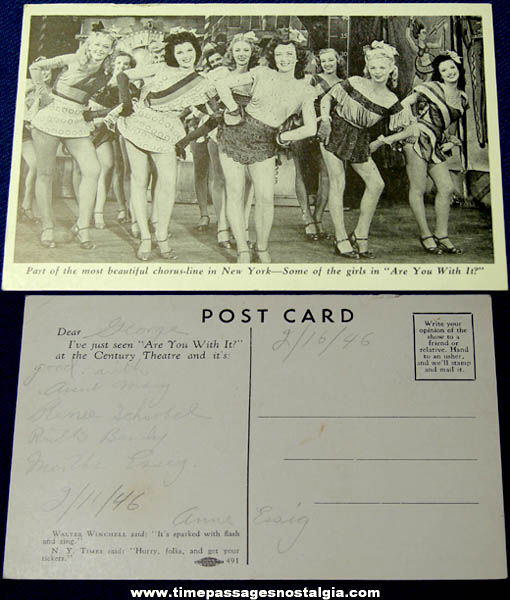 1946 New York City Chorus Line Advertising Post Card