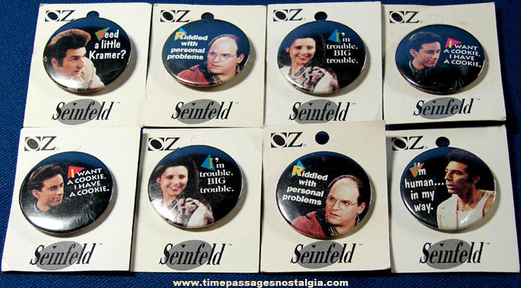 (8) ©1993 Carded Seinfeld Television Comedy Show Character Pin Back Buttons