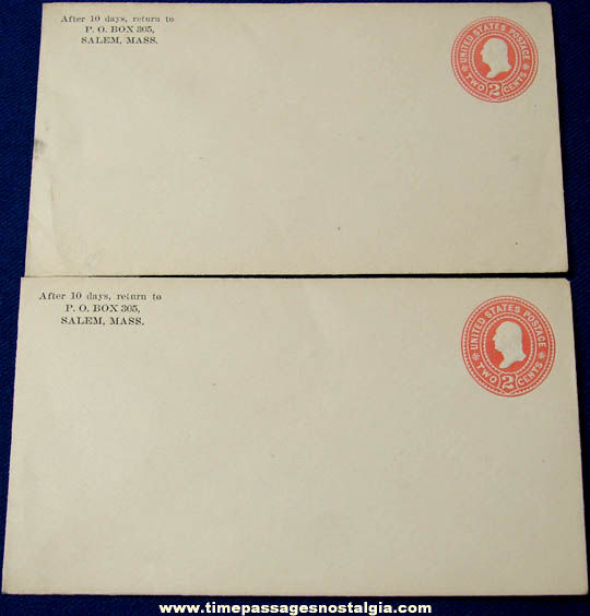 (2) Early Unused United States Postal Stationery Envelopes