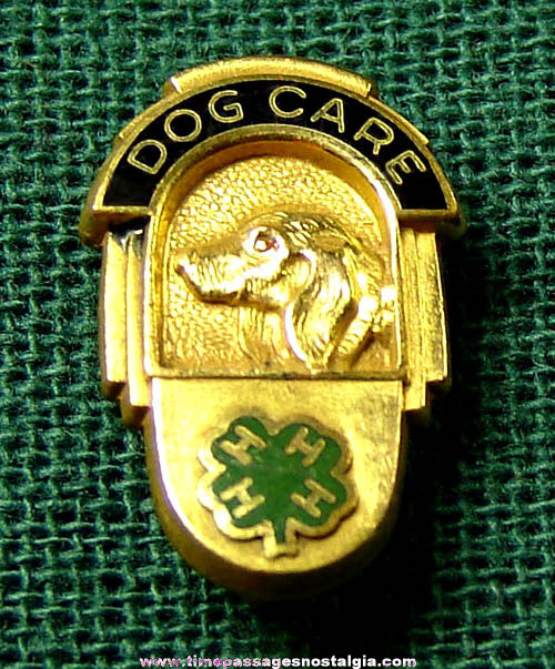 Old Gold Filled & Enameled 4-H Dog Care Ralston Purina Company Award Pin
