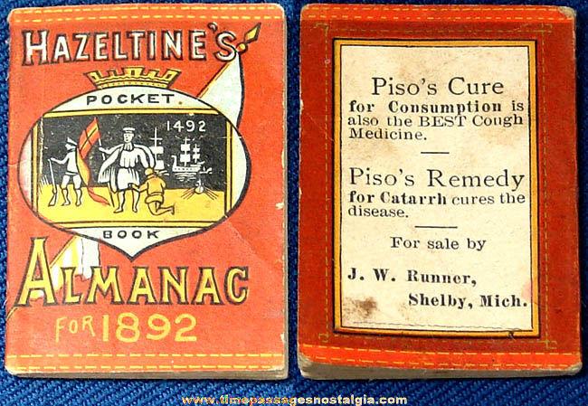 1892 Miniature Hazeltine's Advertising Premium Pocket Book Almanac