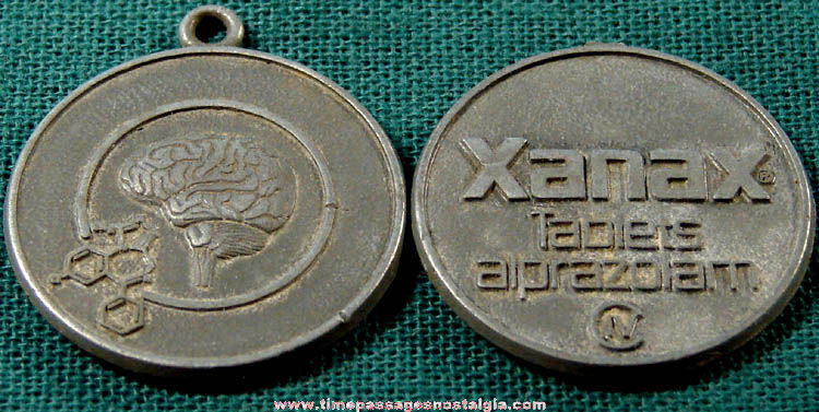 (2) Old Xanax Drug Advertising Metal Charm Fobs - TPNC