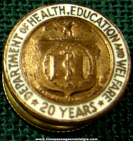 Old Enameled Department of Health Education and Welfare 20 Year Employee Screw Back Button