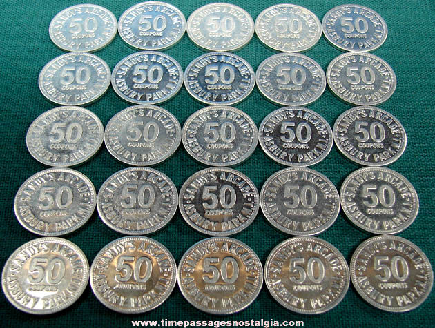 (25) Old Asbury Park New Jersey Boardwalk Sandy's Arcade Game Fifty Point Token Coins