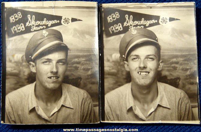 (2) Small 1938 Skowhegan Maine Fair Souvenir Photo Booth Photographs
