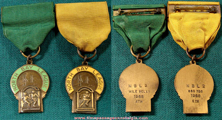 (2) Different 1968 North Bay League Track Award Medals