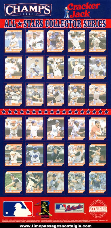 Unused 2002 Cracker Jack All Star Advertising Premium Baseball Card Display Poster