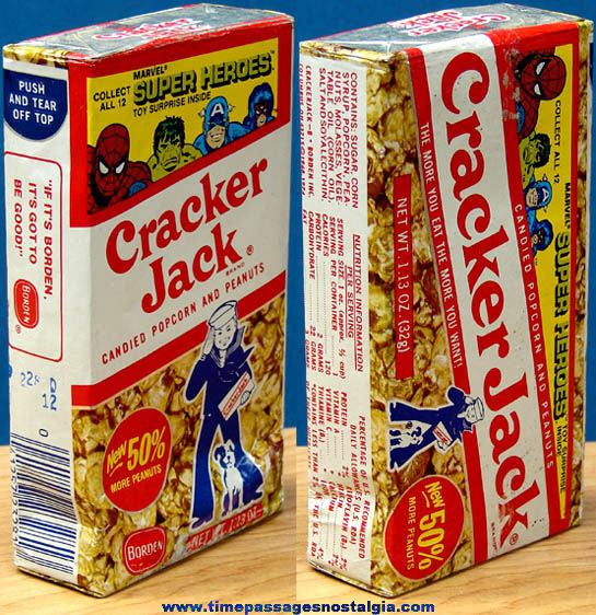 Unopened 1979 Cracker Jack Pop Corn Confection Marvel Super Heroes Box