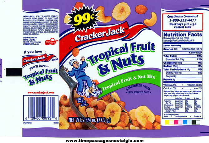 (7) Different Unused ©1999 Cracker Jack Flavored Nut Advertising Bags