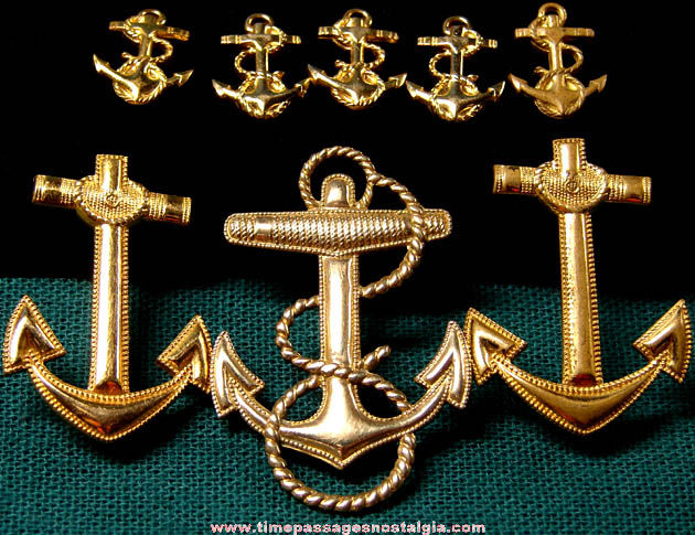 (8) Old Gold Filled United States Naval Academy Midshipman Navy Anchor Insignia Pins