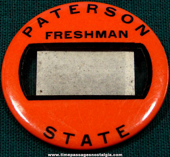 Old Patterson State College Freshman Identification Badge