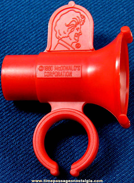 ©1980 McDonald's Restaurant Ronald McDonald Advertising Character Premium Toy Whistle Ring