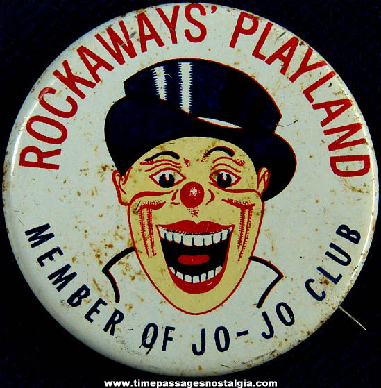 Old Rockaways' Playland Amusement Park Advertising Souvenir Tin Pin Back Button