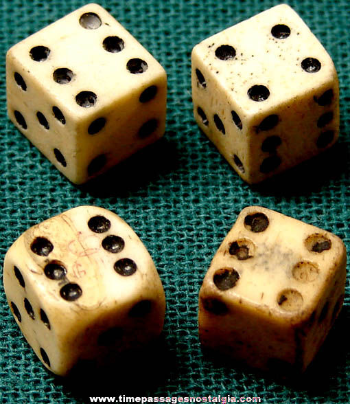 (4) 18th Century Miniature Ivory or Bone Dice (One has tax marks)