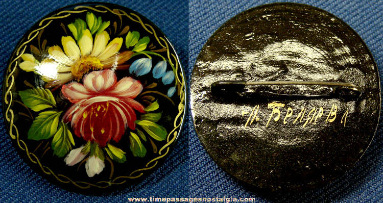 Colorful Old Hand Painted, Lacquered, & Signed Floral Jewelry Pin