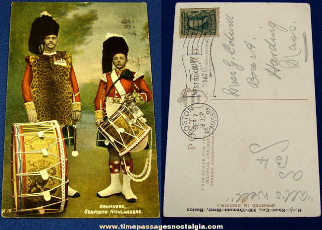 1908 Seaforth Highlanders Drummer Post Card
