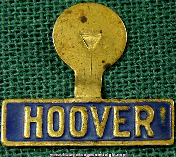 Herbert Hoover Political Campaign Brass Tab Button