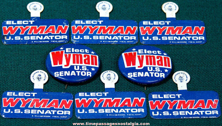 (8) Unused 1974 Louis C. Wyman United States New Hampshire Senator Political Campaign Buttons