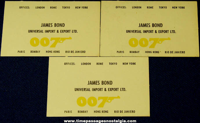 3 old james bond 007 movie character toy business cards tpnc 3 old james bond 007 movie character toy business cards colourmoves