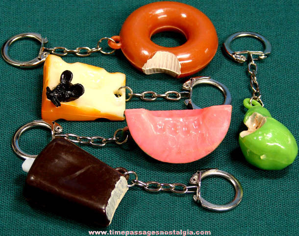 (5) Different Old Unused Gum Ball Machine Prize Food Key Chains