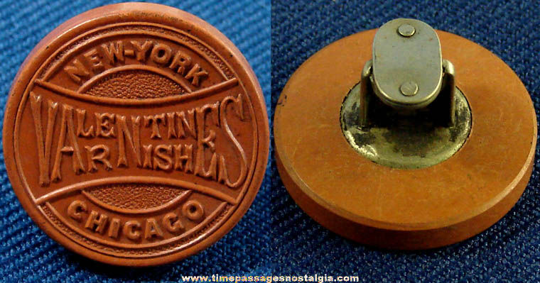 Early Valentines Varnishes Advertising Lapel Stud Button