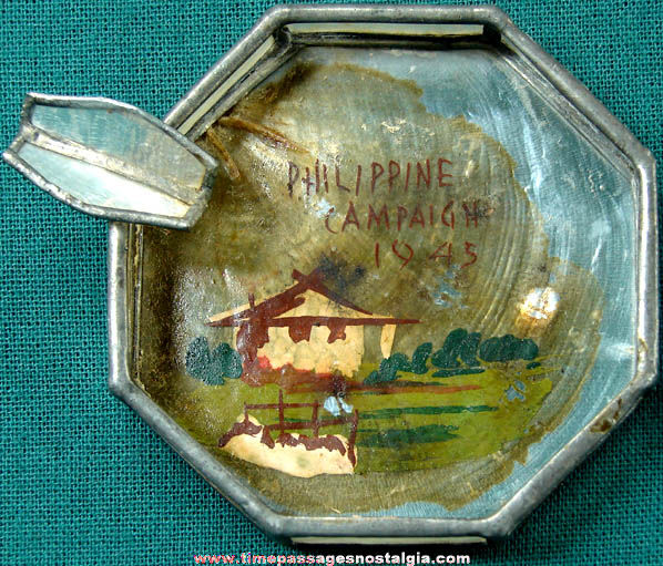 1945 World War II Philippine Campaign Souvenir Leaded Painted Shell Ashtray