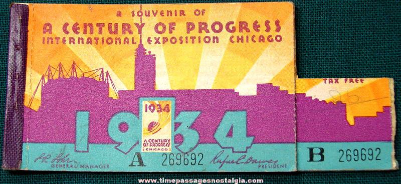 1934 Century of Progress International Exposition World's Fair Ticket Booklet
