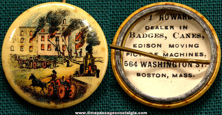 Early Celluloid Fire & Fireman Pin Back Button With Advertising