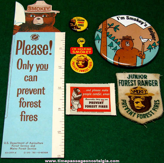 (6) Colorful Old Smokey Bear Character Fire Fighting Items