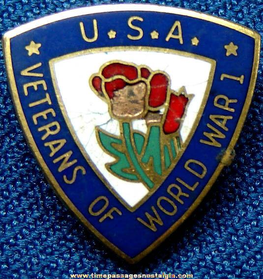 Old Enameled World War I American Veteran Screw Back Button