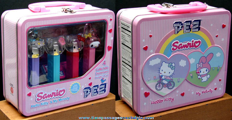 �2006 Hello Kitty Character PEZ Lunch Box with Candy Dispensers