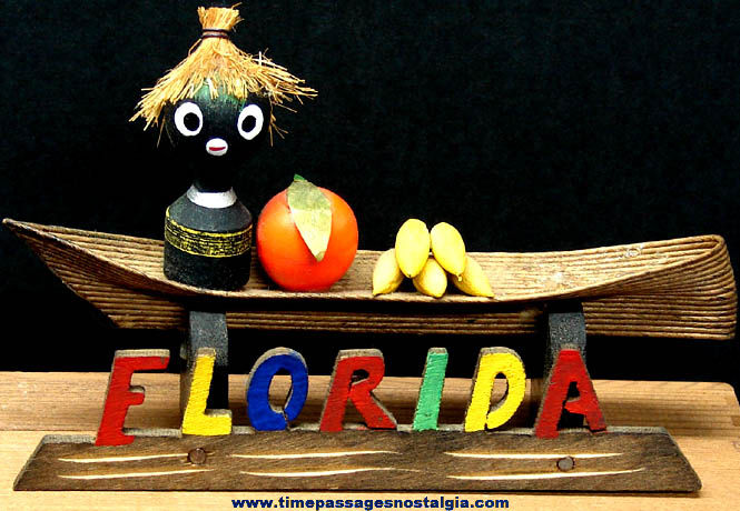 Old Wooden Black Memorabilia Florida Advertising Souvenir
