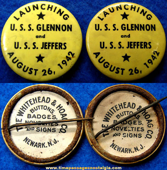 (2) 1942 U.S.S. Glennon & U.S.S. Jeffers Ship Launching Pin Back Buttons
