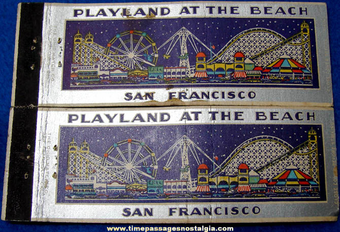 (2) Old San Francisco Playland At The Beach Amusement Park Advertising Match Covers