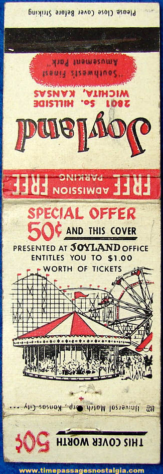 Old Wichita Kansas Joyland Amusement Park Advertising Match Book Cover