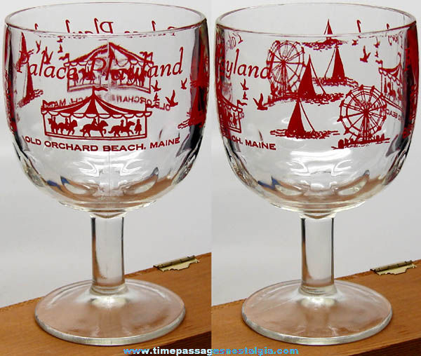 Old Unused Palace Playland Arcade Old Orchard Beach Maine Advertising Glass Drink Goblet