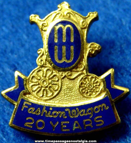 Old Enameled Fashion Wagon Clothing Advertising Employee 20 Year Pin