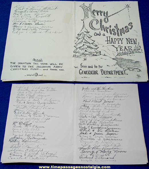 1970 General Electric Christmas Card with (65) Signatures
